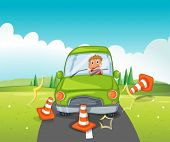 Illustration of a boy riding on a green car bumping the traffic cones