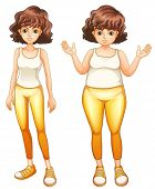 image of skinny fat  - Illustration of a fat and a slim lady in their yellow pants on a white background - JPG