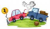 pic of kinetic  - Illustration of a car accident near the yellow signage on a white background - JPG