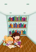 Illustration of the two girls reading inside the room on a white background