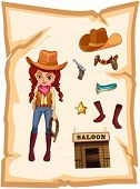 Illustration of a piece of paper with an image of a cowgirl and a saloon bar on a white background