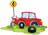 Illustration of a red car bumping the signage at the road on a white background