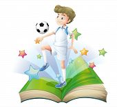 Illustration of a book with a male football player on a white background