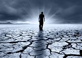 picture of nuclear disaster  - A troubled young man walking into the light - JPG