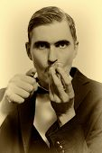 Retro Portrait Of Adult Man Smoking Pipe