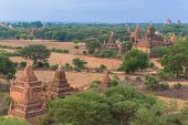 Panorama of Bagan with the Irrawaddy river