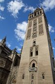 SEVILLE, SPAIN - MAY 16: The Giralda of the Cathedral of Seville on May 16, 2013 in Seville, Spain.