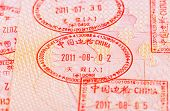 Chinese Visa Entry And Exit Stamps In Passport