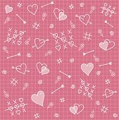 Seamless Pattern: Hearts, Arrows, Love Relationship