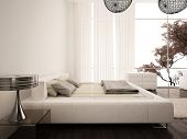 Modern white design bedroom with curtain