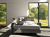 stock photo of master bedroom  - 3d rendering of modern bedroom with floor to ceiling windows and landscape view - JPG