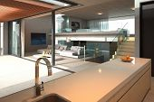 Modern kitchen interior with open room and couch