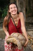 Girl with turtle