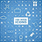 Set of 100 web, internet, office, computer and travel icons vector