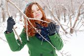 Girl Clings To Branch With Berries at winter
