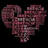 Brescia word cloud in pink letters against black background