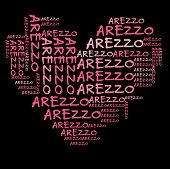 Arezzo word cloud in pink letters against black background
