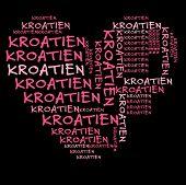 Kroatien-Wort-Wolke in Rosa Schrift auf schwarzen Hintergrund