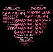 Maximilian word cloud in pink letters against black background