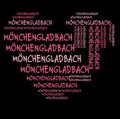 MonchenGladbach word cloud in pink letters against black background
