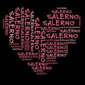 Salerno word cloud in pink letters against black background