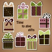 Vector set of holiday gifts