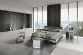 picture of flat-bed  - 3D rendering of modern bedroom interior - JPG