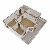 3D Model Flat With Balcony