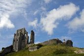 Corfe Castle / fort ancient ruins in Dorset, UK