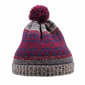Knitted Wool Winter Hat With Pom Pom Isolated On White