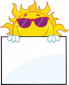 Smiling Sun With Sunglasses Cartoon Character Over A Sign Board