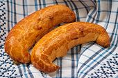 foto of crescent-shaped  - Traditional Hungarian folk xmas walnut crescent shape sweet cake  - JPG
