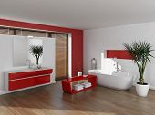 Modern luxury red and white bathroom interior
