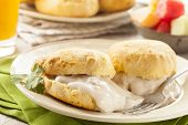 stock photo of biscuits gravy  - Homemade Buttermilk Biscuits and Gravy for Breakfast - JPG