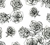 Flower sketch bouquet seamless pattern