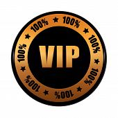 Vip 100 Percentages In Golden Black Circle Label