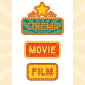 Set of glowing retro cinema neon signs.