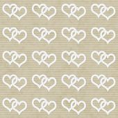 White Interwoven Hearts And Beige Thin Stripes Horizontal Textured Fabric Background