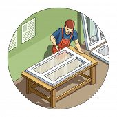 Worker make window. Eps10 vector illustration. Isolated on white background