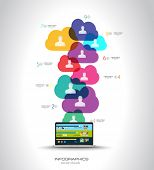 Modern Cloud Globals infographic concept background for social media advertising and communications