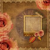 Vintage Texture Background With Watch (time)