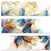 Abstract Business Cards Set In Floral Style