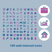 100 website internet business icons set, vetor