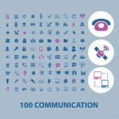 100 business communication icons set, vector