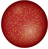 Vector illustration of big, red disco ball