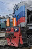 Diesel locomotive at railway station, Sludyanka, Irkutsk region