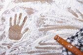 Handprint On The Flour And Rolling Pin, A Kitchen Towel