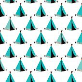 image of wigwams  - Seamless kids wigwam illustration blue indian background pattern in vector - JPG