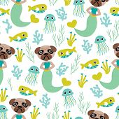 Seamless little mermaid pug dog quirky kids background pattern in vector
