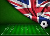 Soccer or football background with flag of United Kingdom